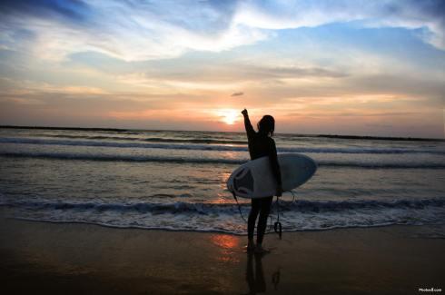 Surf Sea Sunset Beach